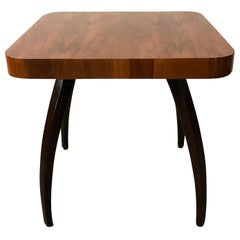 20th Century Spider Center Table by Jindrich Halabala, Czech Walnut Side Table