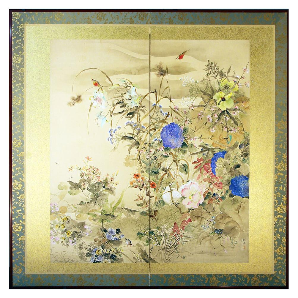 20th Century Japanese Folding Screen Spring Garden with Flowers and Birds