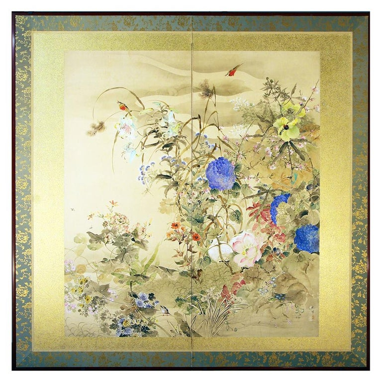 20th Century Japanese Folding Screen Spring Garden with Flowers and Birds  For Sale