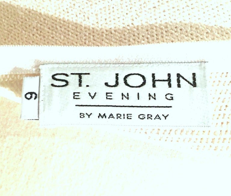 20th Century St John Knit Winter White Silver & Gold Pailettes Dress NWT-Size 6 For Sale 7