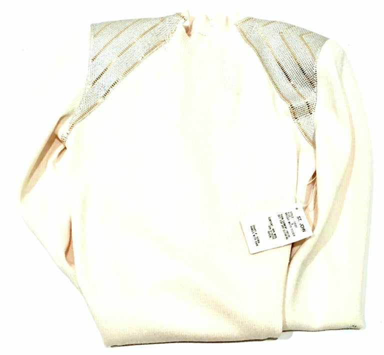 20th Century St John Knit Winter White Silver & Gold Pailettes Dress NWT-Size 6 For Sale 1
