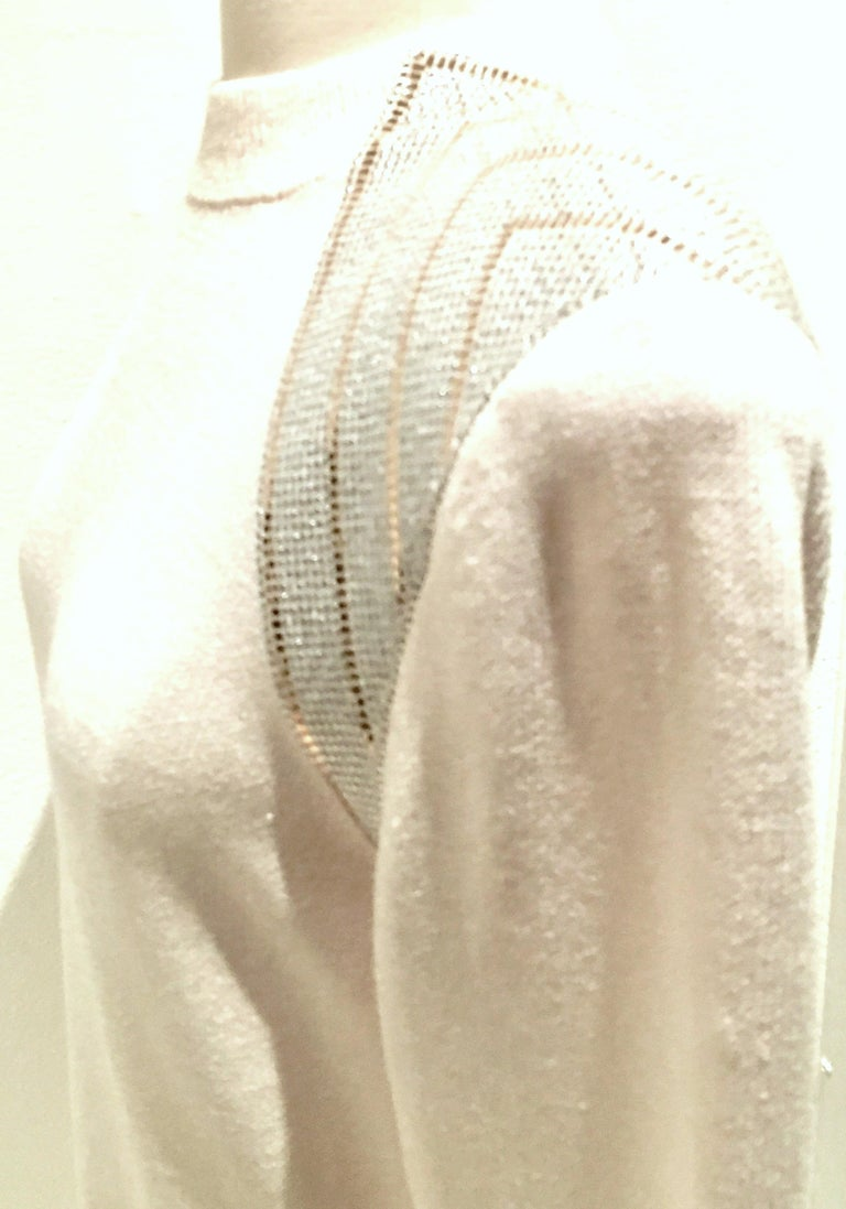 20th Century St John Knit Winter White Silver & Gold Pailettes Dress NWT-Size 6 For Sale 3