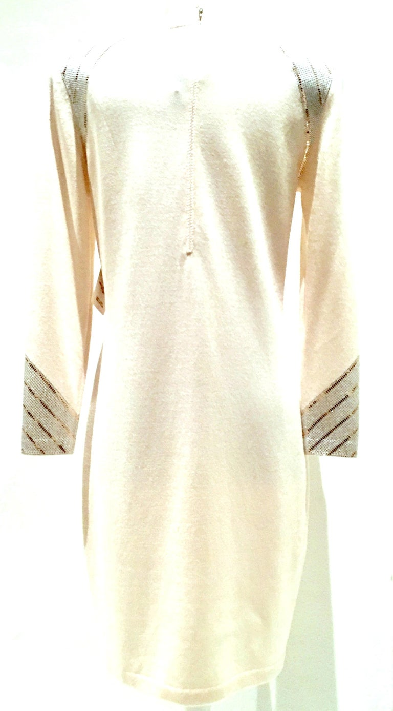 Women's 20th Century St John Knit Winter White Silver & Gold Pailettes Dress NWT-Size 6 For Sale