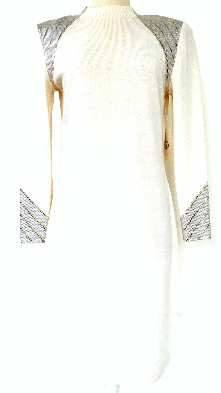 20th Century St John Knit Winter White Silver & Gold Pailettes Dress NWT-Size 6 For Sale