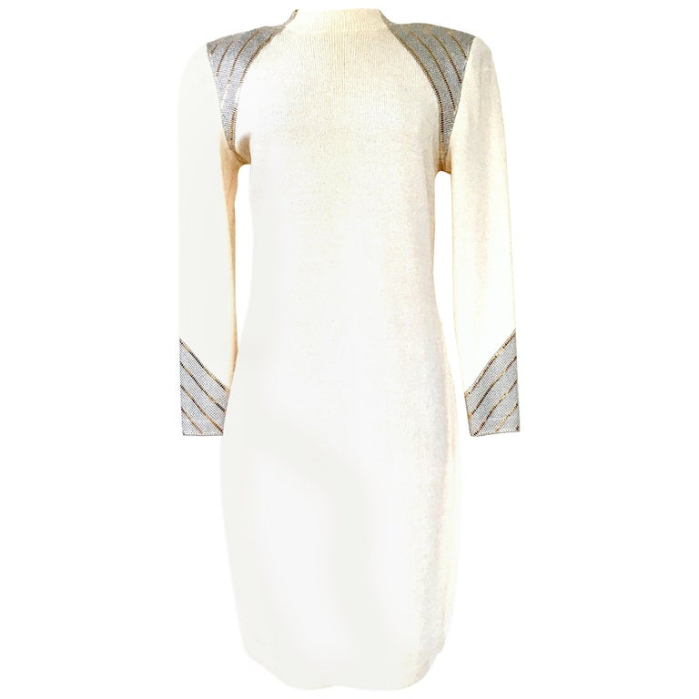 Beige 20th Century St John Knit Winter White Silver & Gold Pailettes Dress NWT-Size 6 For Sale