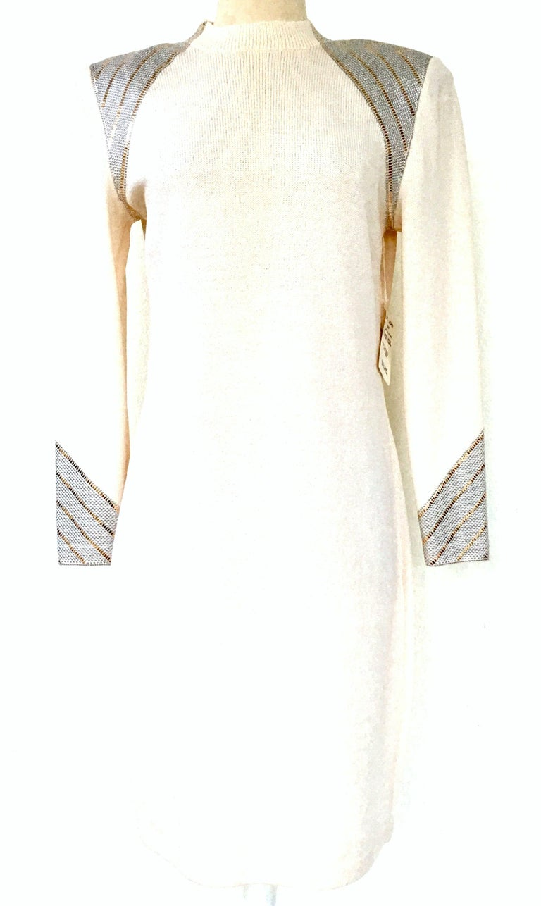 20th Century St John Knit Winter White Silver And Gold