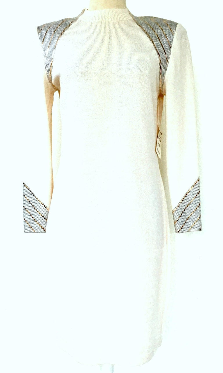 20th Century New & Classic St John Evening By, Marie Gray, Winter White, Silver & Gold Pailette Embellished Long Sleeve Dress. Made of Wool & Viscose, the classic elements that make St. John the premier American company for those who travel well.