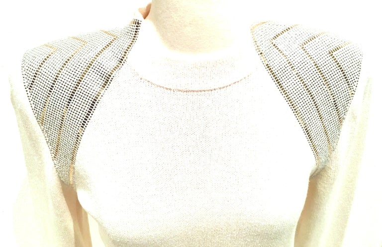 20th Century St John Knit Winter White Silver & Gold Pailettes Dress NWT-Size 6 For Sale 2
