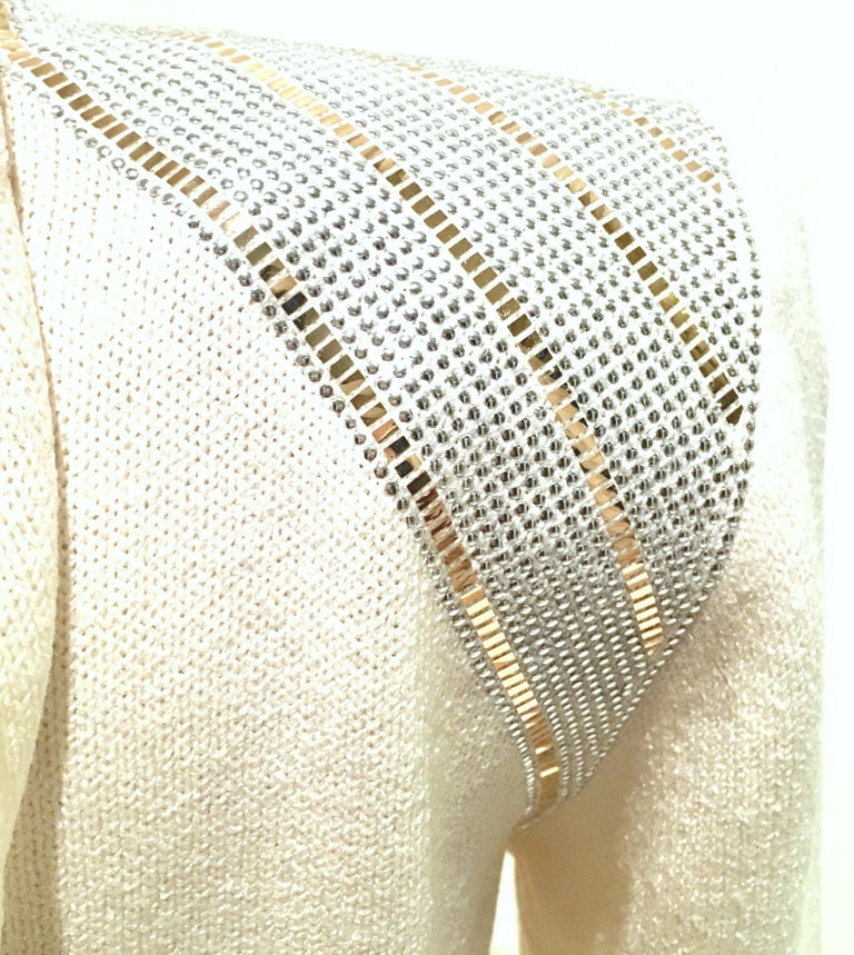 20th Century St John Knit Winter White Silver & Gold Pailettes Dress NWT-Size 6 For Sale 4