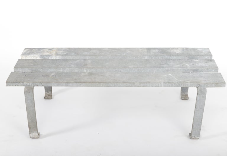 Steel slatted industrial bench, 20th century.