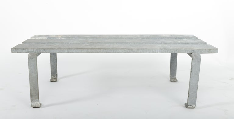 20th Century Steel Slatted Industrial Bench In Good Condition For Sale In New York City, NY