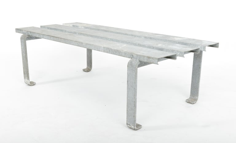 20th Century Steel Slatted Industrial Bench For Sale 1