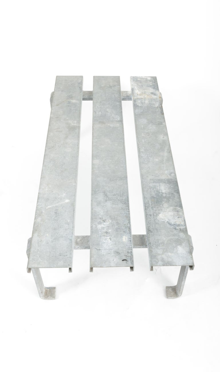 20th Century Steel Slatted Industrial Bench For Sale 2