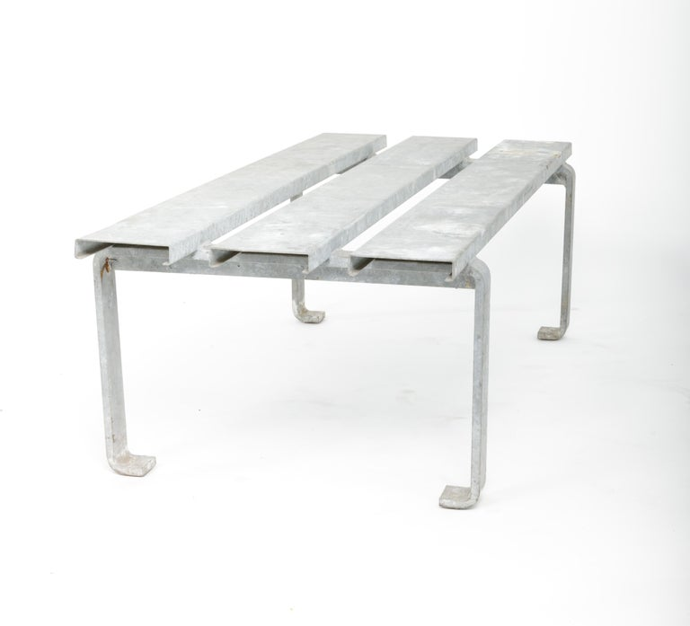 20th Century Steel Slatted Industrial Bench For Sale 3