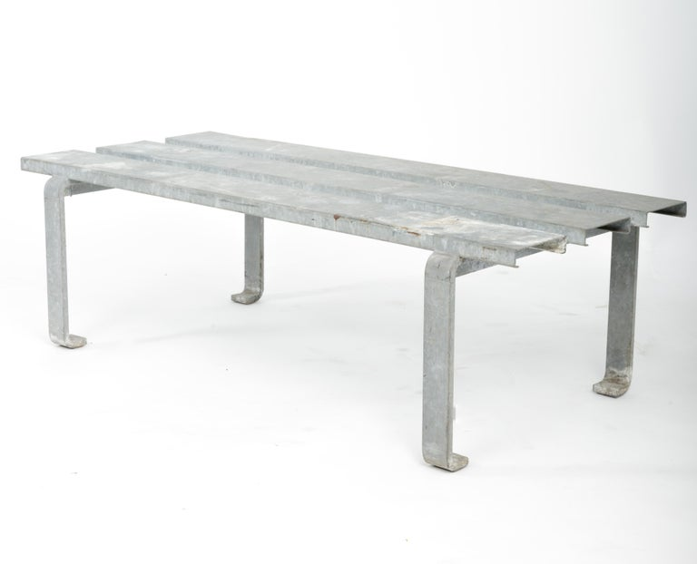 20th Century Steel Slatted Industrial Bench For Sale 4