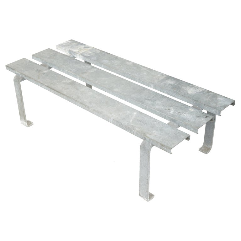 20th Century Steel Slatted Industrial Bench For Sale