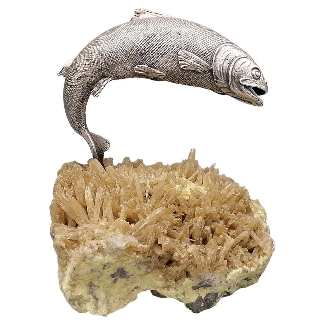 20th Century Sterling Italian Silver Trout Sculpture on a Crystal Base