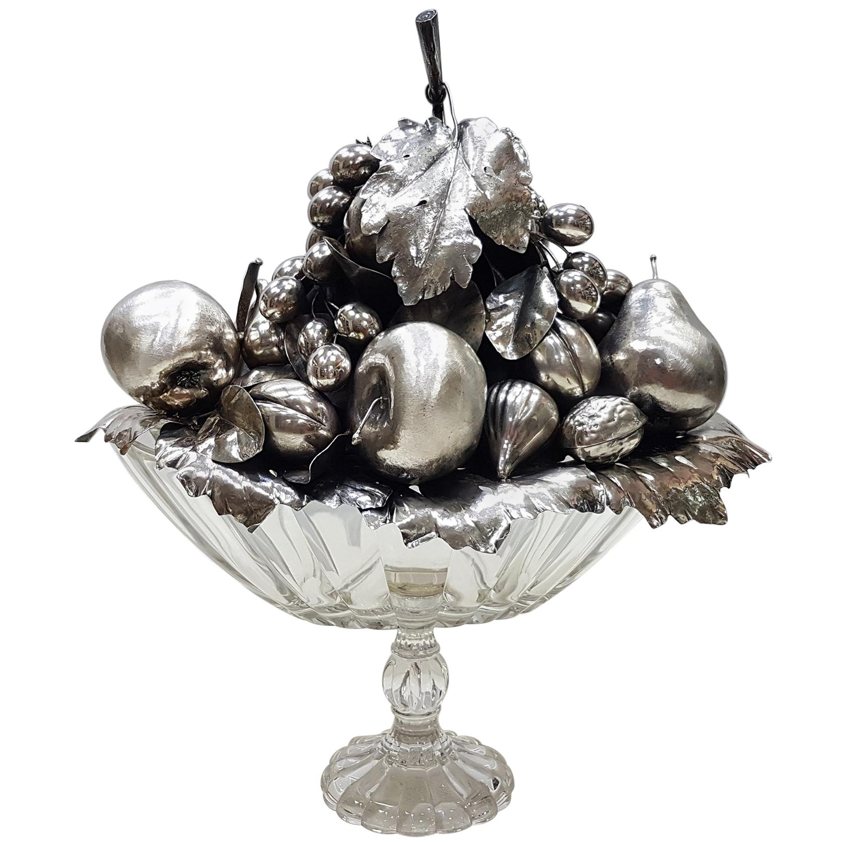 20th Century Sterling Italian Sterling Silver Centrepiece on Cristal Base