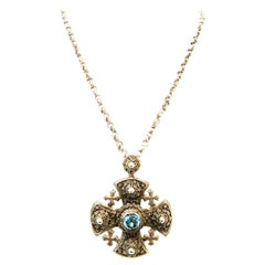 20th Century Sterling Silver & Blue Topaz Maltese Cross Pendant Necklace