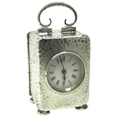 20th Century Sterling Silver Carriage Clock