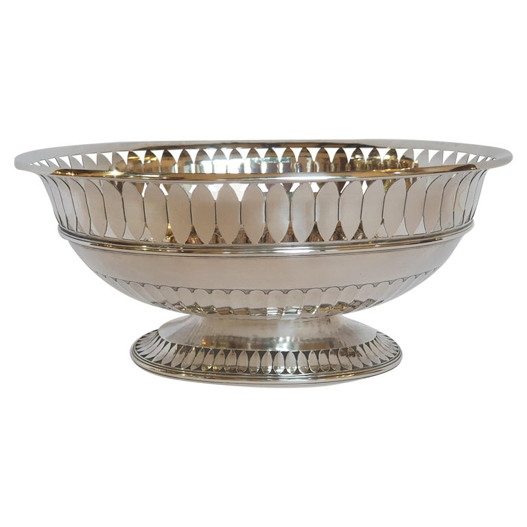 20th Century Sterling Silver Empire Style Centerpiece, Italy, 1990 For Sale