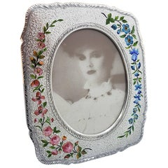 20th Century Italian Sterling Silver Gilted Enameled Frame