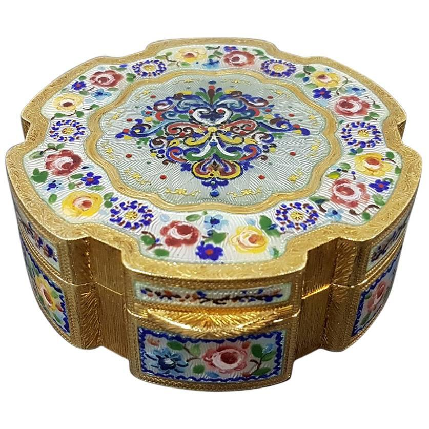 20th Century Sterling Silver Gilted Enameled Table Box