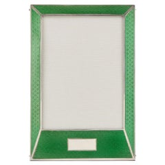 20th Century Sterling Silver Guilloche Enamel Photo Frame, Birmingham, 1927