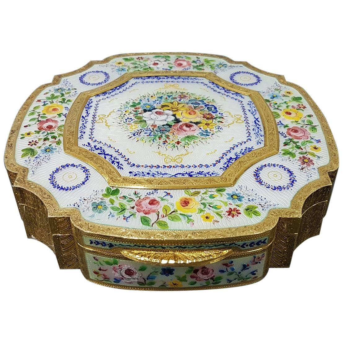20th Century Sterling Silver Italian Gilded and Enameled Table Box