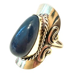 20th Century Sterling Silver & Lapis Lazuli Adjustable Ring Size- One Size