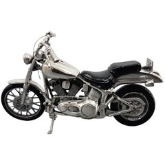 20th Century Sterling Silver Miniature Motorcycle Harley Davidson, Made in Italy