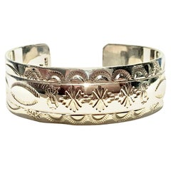 20th Century Sterling Silver Native American Symbols Cuff Bracelet-Signed