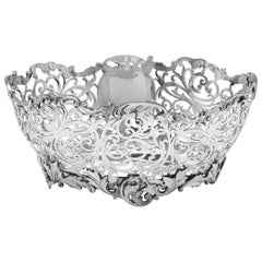 20th Century Sterling Silver Pierced Dish Made in 1923