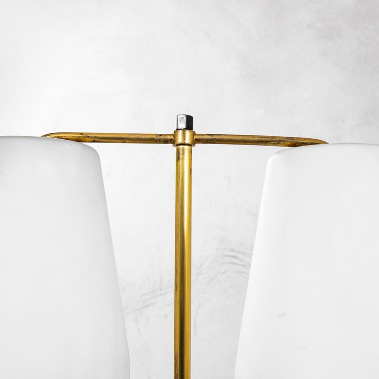Italian 20th Century Stilnovo Floor Lamp with Diffusers in Opal Glass and Base in Marble For Sale