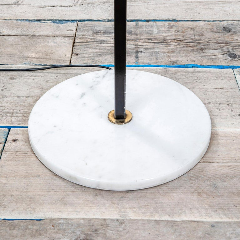 Lacquered 20th Century Stilnovo Floor Lamp with Diffusers in Opal Glass and Base in Marble For Sale