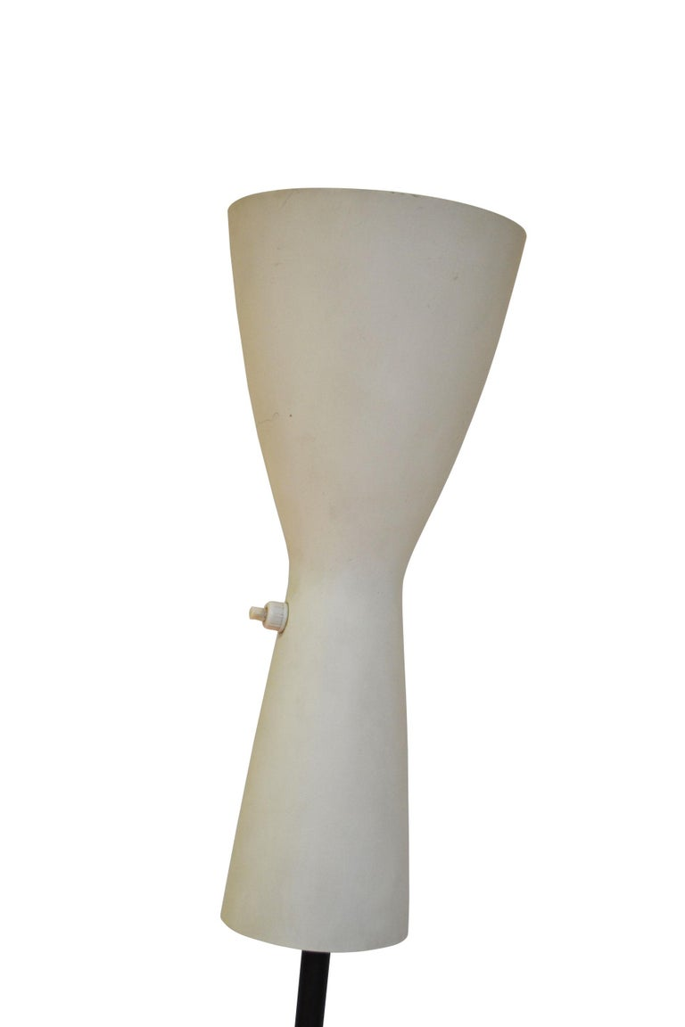 Mid-Century Modern 20th Century Stilnovo Floor Lamp with Two Diffusers with Marble Base For Sale