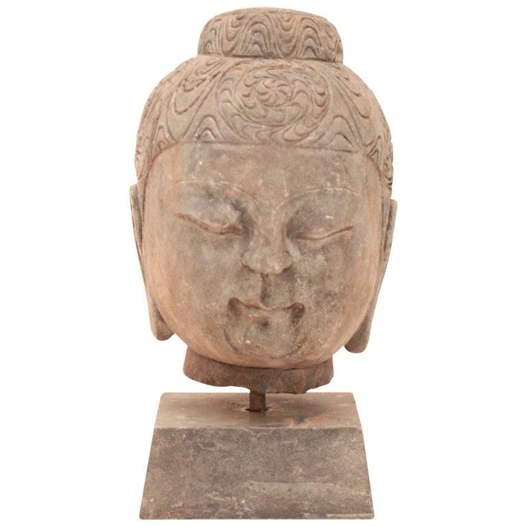 20th Century Stone Buddha Head