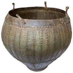 20th Century Studded Brass & Bronze Urn