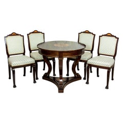 20th Century Stylized, Round Table with Upholstered Chairs