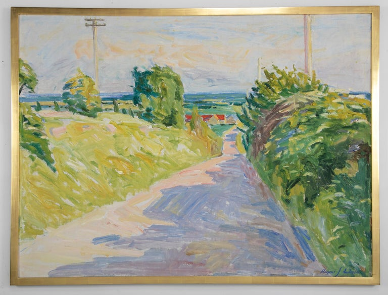 20th century oil on canvas of a summertime landscape by Danish artist Mogens Anderson (b. 1909 - d. 2002). Signed lower right.