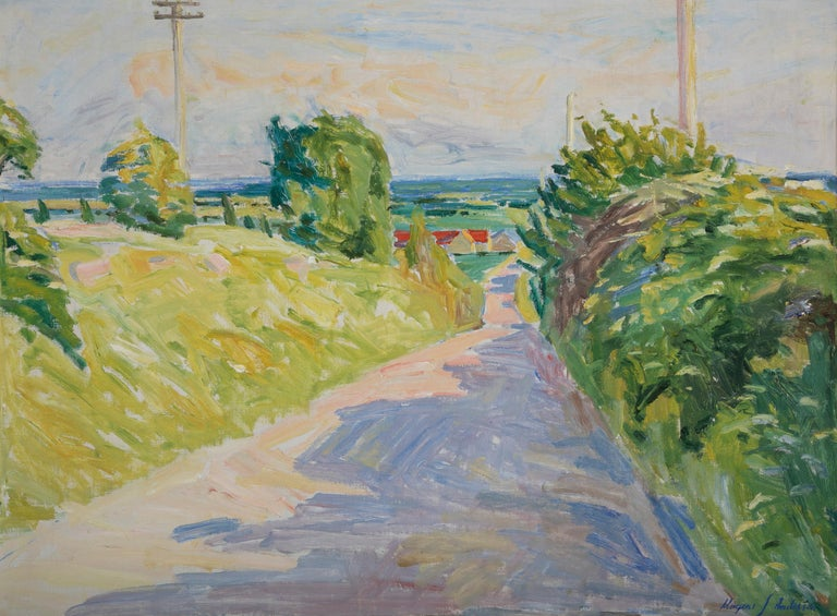 Canvas 20th Century Summer Landscape by Danish Artist Mogens Anderson For Sale