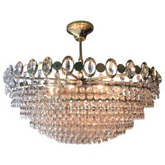 20th Century Swarovski Gilded Brass and Glass Chandelier, 1960s