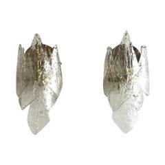 20th Century Swedish Crystal Glass Orrefors Wall Sconces by Carl Fagerlund