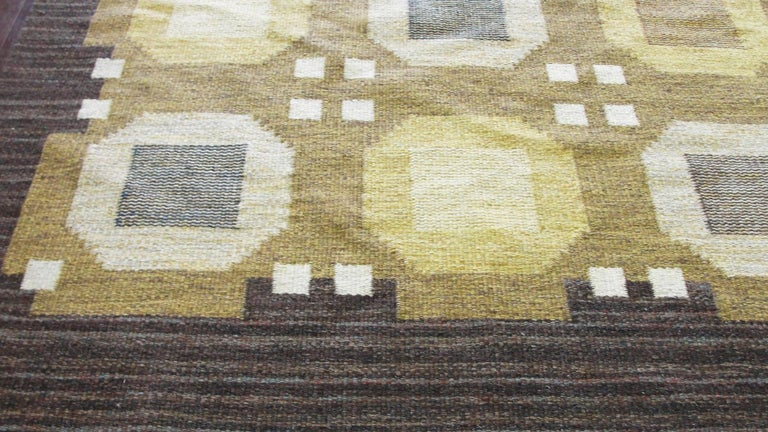 Hand-Knotted 20th Century Swedish Flat-Weave Carpet by Agda Osterberg, Free Shipping For Sale