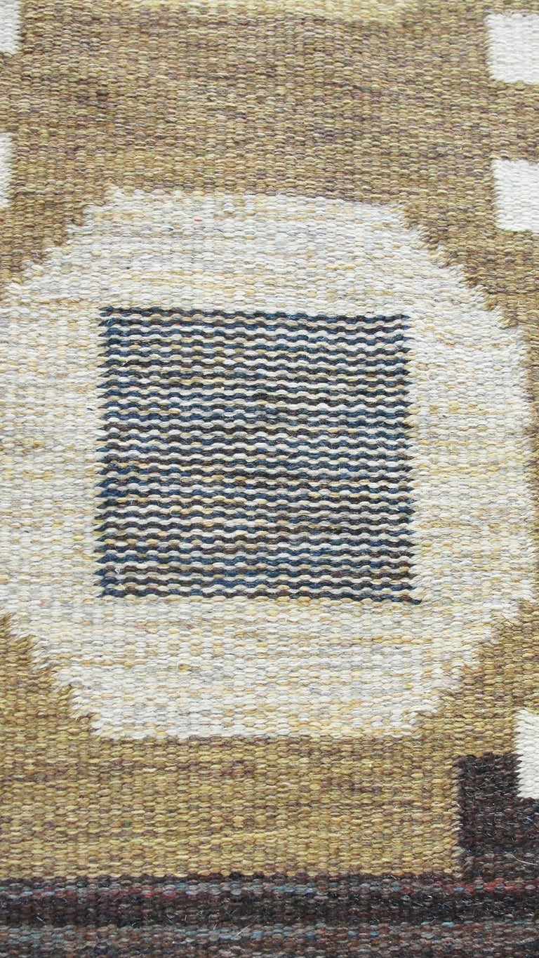 20th Century Swedish Flat-Weave Carpet by Agda Osterberg, Free Shipping In Excellent Condition For Sale In Evanston, IL