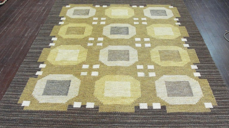 Wool 20th Century Swedish Flat-Weave Carpet by Agda Osterberg, Free Shipping For Sale