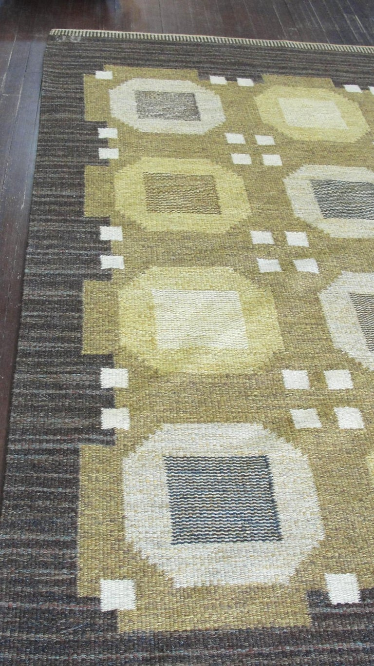 20th Century Swedish Flat-Weave Carpet by Agda Osterberg, Free Shipping For Sale 1