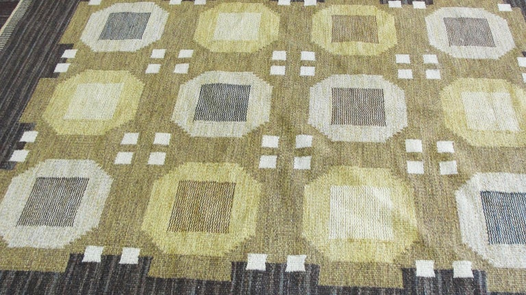 20th Century Swedish Flat-Weave Carpet by Agda Osterberg, Free Shipping For Sale 3