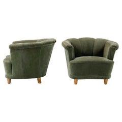 20th Century Swedish Green Velour Lounge Chairs