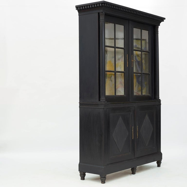Painted 20th Century Swedish Gustavian Style Glass Cabinet For Sale